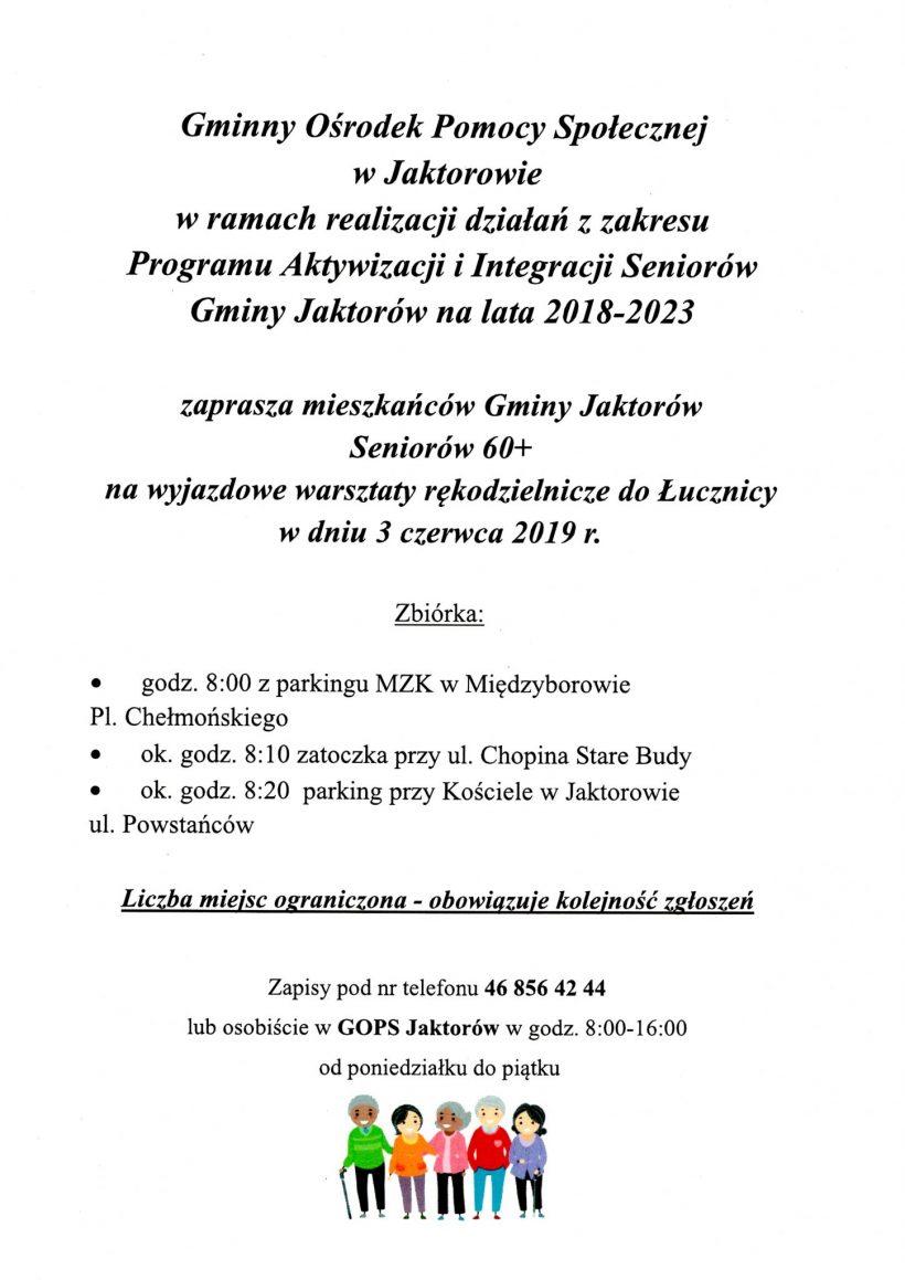Zaproszenie na wyjazd do Łucznicy .