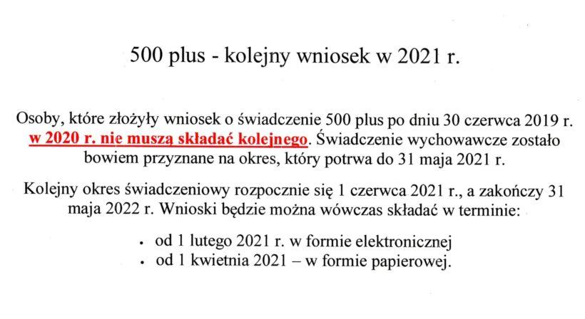 500 plus – kolejny wniosek w 2021 r.